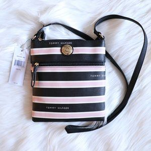 Tommy Hilfiger Pink and White Striped Crossbody
